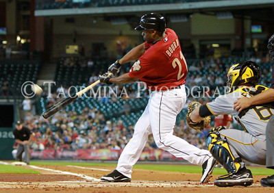 July 16, 2011; Houston, TX, USA; Houston Astros outfielder Michael Bourn (21) bats in the first inning against the Pittsburgh Pirates at Minute Maid Park. Mandatory Credit: Troy Taormina-US PRESSWIRE