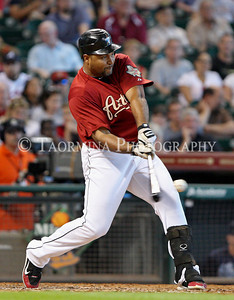 June 12, 2011; Houston, TX, USA; Houston Astros outfielder Carlos Lee (45) bats against the Atlanta Braves at Minute Maid Park. Mandatory Credit: Troy Taormina-US PRESSWIRE