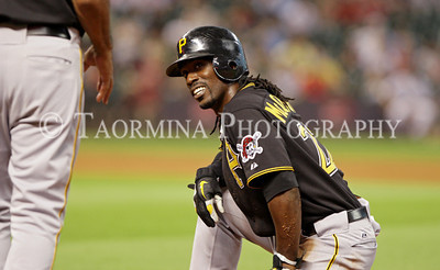June 14, 2011; Houston, TX, USA; Pittsburgh Pirates outfielder Andrew McCutchen (22) reacts after a collision with Houston Astros first baseman Brett Wallace (not pictured) in the sixth inning at Minute Maid Park. Mandatory Credit: Troy Taormina-US PRESSWIRE