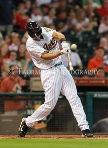 August 03, 2011; Houston, TX, USA; Houston Astros outfielder J.D. Martinez (14) bats in the first inning at Minute Maid Park. Mandatory Credit: Troy Taormina-US PRESSWIRE
