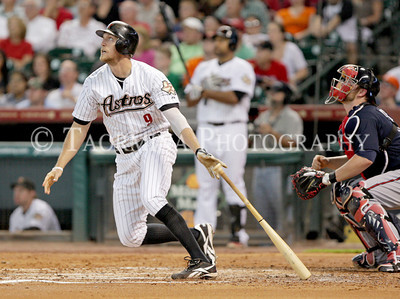 June 13, 2011; Houston, TX, USA; Houston Astros outfielder Hunter Pence (9) hits a two-run home run in the third inning against the Atlanta Braves at Minute Maid Park. Mandatory Credit: Troy Taormina-US PRESSWIRE