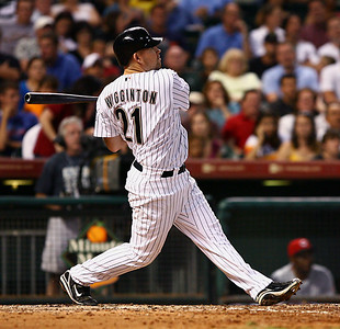 August 27, 2008 - Ty Wiggington belts a two-run home run in the bottom of the seventh inning. The Houston Astros defeated the Cincinnati Reds 4-1 at Minute Maid Park in Houston.