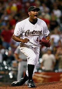 August 27, 2008 - Jose Valverde celebrates the final out for his 34th save of the season.  The Houston Astros defeated the Cincinnati Reds 4-1 at Minute Maid Park in Houston.