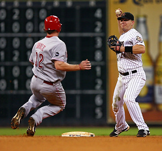 August 27, 2008 - Jay Bruce of the Cincinnati Reds attempts to break up a double play in the 7th inning.  Geoff Blum completed the double play, and the Houston Astros defeated the Cincinnati Reds 4-1 at Minute Maid Park in Houston.