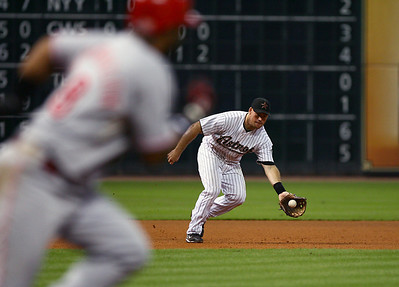 August 27, 2008 - Edwin Encarnacion grounds into a double play in the fourth inning. The Houston Astros defeated the Cincinnati Reds 4-1 at Minute Maid Park in Houston.