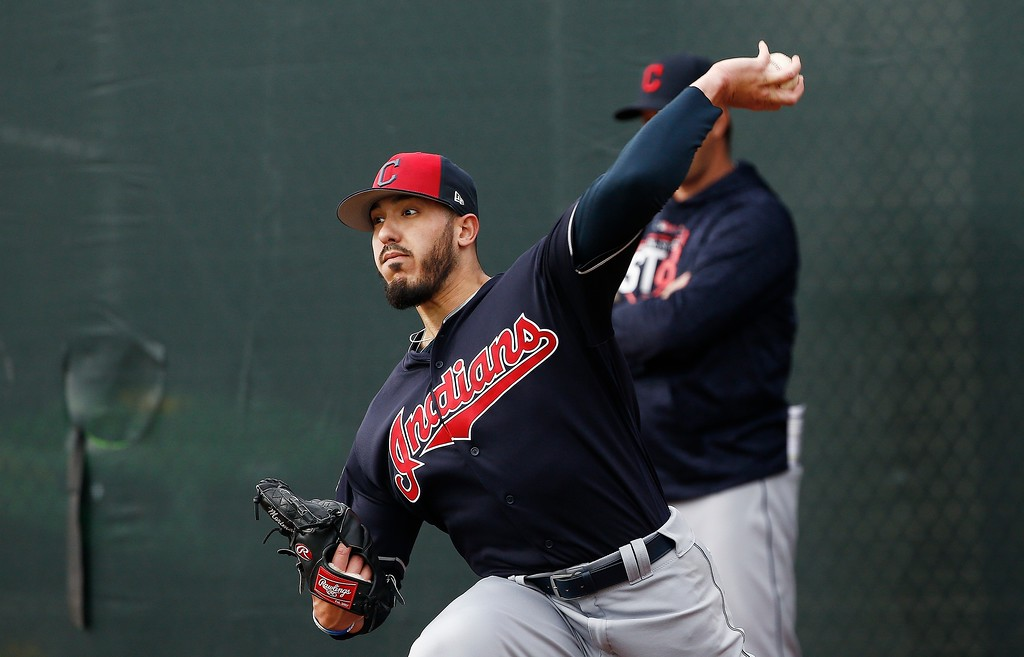 . Cleveland Indians relief pitcher Shawn Morimando throws a pitch during his throwing session at the Indians spring training facility Friday, Feb. 16, 2018, in Goodyear, Ariz. (AP Photo/Ross D. Franklin)