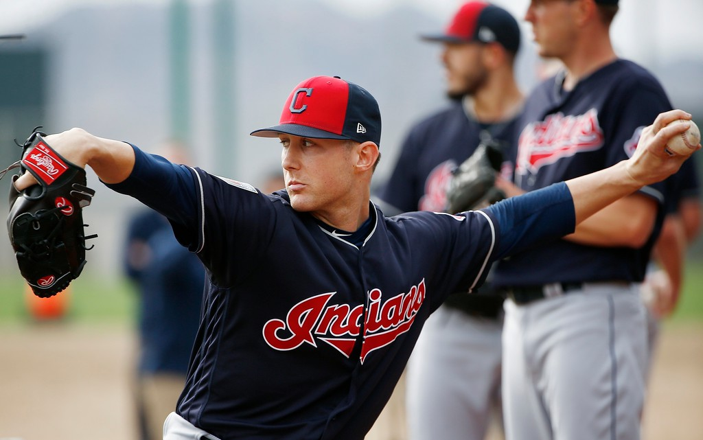 . Cleveland Indians relief pitcher Jeff Beliveau throws a pitch at the Indians spring training facility Friday, Feb. 16, 2018, in Goodyear, Ariz. (AP Photo/Ross D. Franklin)