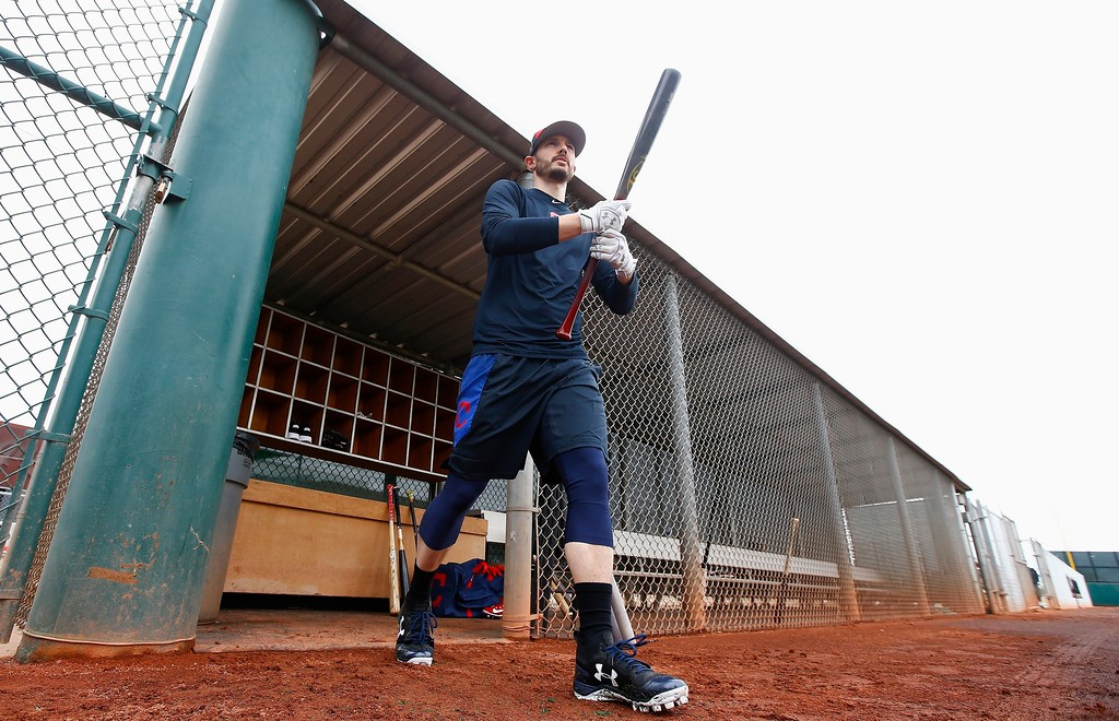 . Cleveland Indians shortstop Eric Stamets walks on the field to take batting practice at the Indians spring training facility Friday, Feb. 16, 2018, in Goodyear, Ariz. (AP Photo/Ross D. Franklin)