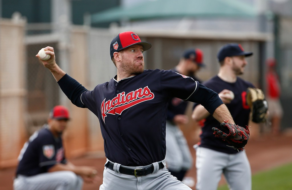 . Cleveland Indians relief pitcher Zach McAllister throws the baseball as he warms up at the Indians spring training facility Friday, Feb. 16, 2018, in Goodyear, Ariz. (AP Photo/Ross D. Franklin)