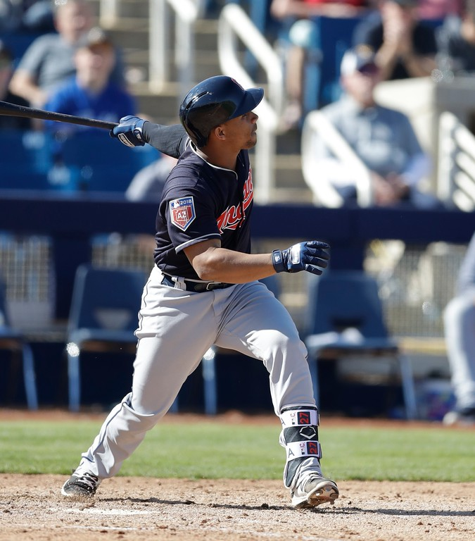. Cleveland Indians\' Francisco Mejia watches his two-run home run during a spring training baseball game against the Milwaukee Brewers, Monday, Feb. 26, 2018, in Maryvale, Ariz. (AP Photo/Carlos Osorio)