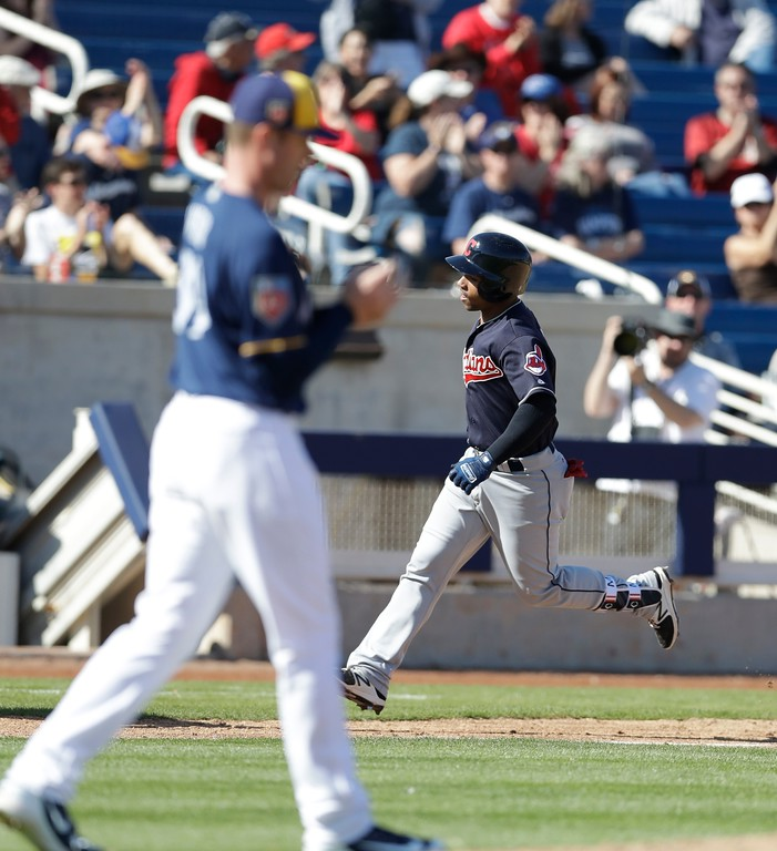 . Cleveland Indians catcher Francisco Mejia rounds the bases after his two-run home run during a spring training baseball game against the Milwaukee Brewers, Monday, Feb. 26, 2018, in Maryvale, Ariz. (AP Photo/Carlos Osorio)