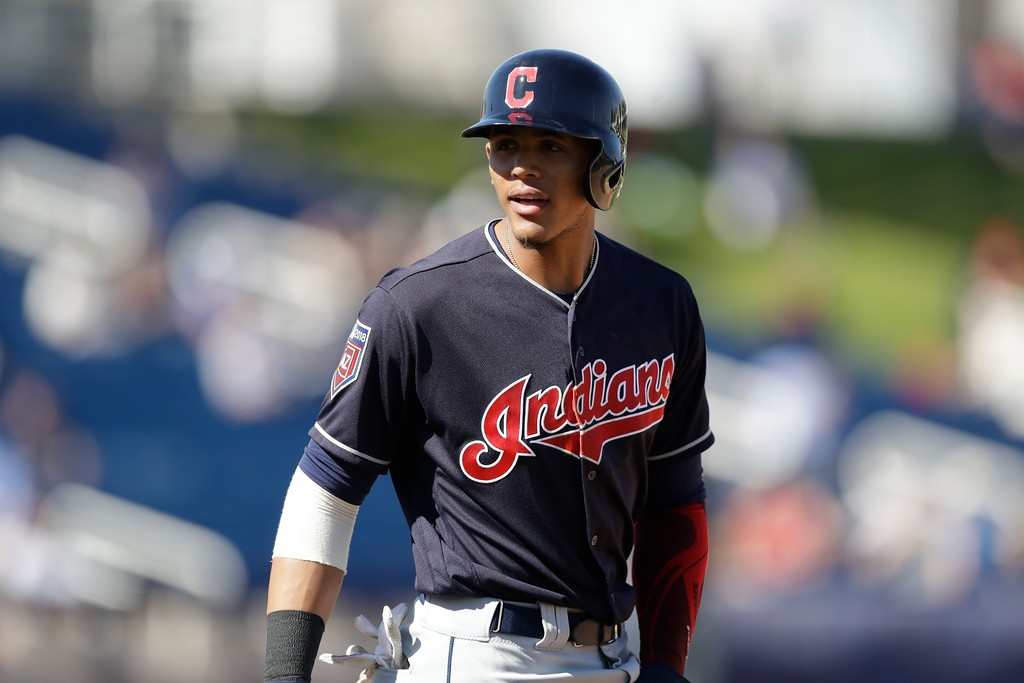. Cleveland Indians\' Erik Gonzalez leads off first during a spring training baseball game against the Milwaukee Brewers, Monday, Feb. 26, 2018, in Maryvale, Ariz. (AP Photo/Carlos Osorio)