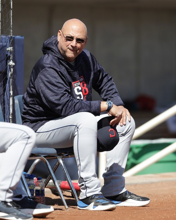 . Cleveland Indians manager Terry Francona is seen before a spring training baseball game against the Milwaukee Brewers, Monday, Feb. 26, 2018, in Maryvale, Ariz. (AP Photo/Carlos Osorio)