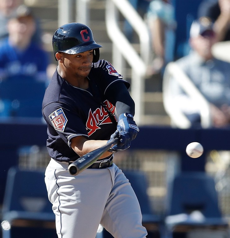 . Cleveland Indians\' Francisco Mejia connects for a two-run home run during the fifth inning of a spring training baseball game against the Milwaukee Brewers, Monday, Feb. 26, 2018, in Maryvale, Ariz. (AP Photo/Carlos Osorio)