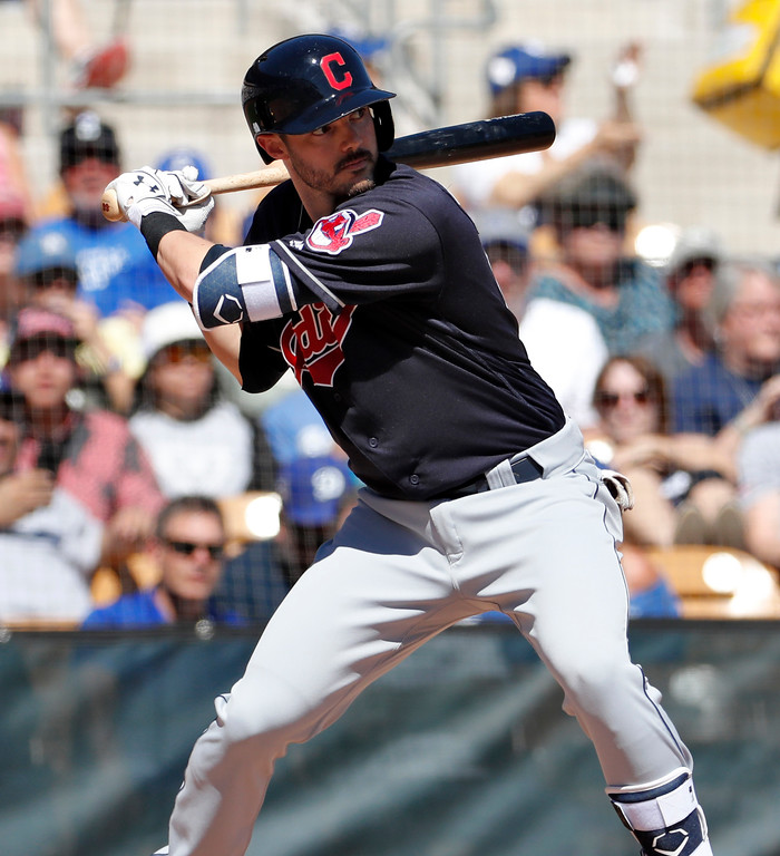 . Cleveland Indians\' Eric Stamets hits during the second inning of a spring training baseball game against the Los Angeles Dodgers, Monday, March 5, 2018, in Phoenix. (AP Photo/Matt York)