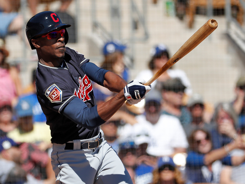 . Cleveland Indians\' Melvin Upton Jr hits during the second inning of a spring training baseball game against the Los Angeles Dodgers, Monday, March 5, 2018, in Phoenix. (AP Photo/Matt York)