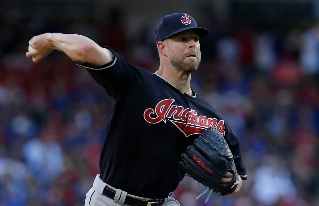 . Cleveland Indians starting pitcher Corey Kluber throws during the first inning of an opening day baseball game against the Texas Rangers in Arlington, Texas, Monday, April 3, 2017. (AP Photo/LM Otero)