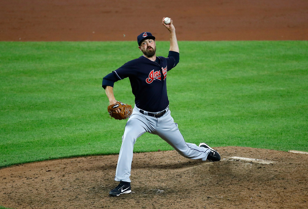 . Cleveland Indians relief pitcher Andrew Miller throws to the Baltimore Orioles during a baseball game in Baltimore, Thursday, June 22, 2017. (AP Photo/Patrick Semansky)
