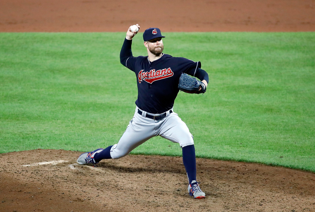. Cleveland Indians starting pitcher Corey Kluber throws to the Baltimore Orioles in the ninth inning of a baseball game in Baltimore, Monday, June 19, 2017. Cleveland won 12-0. (AP Photo/Patrick Semansky)