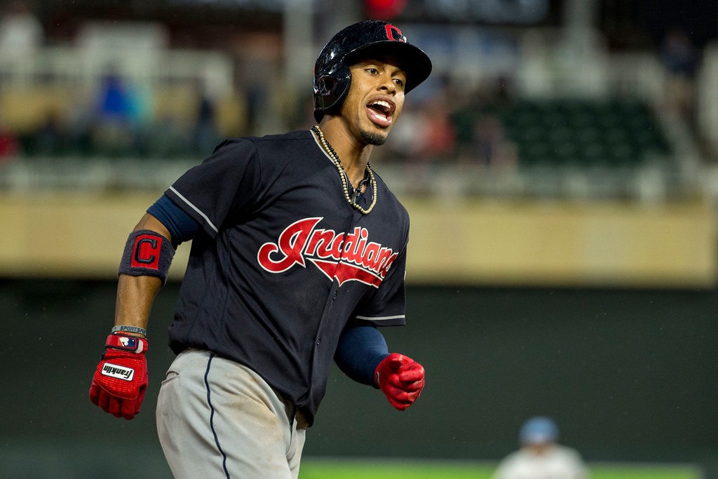 . Cleveland Indians Francisco Lindor celebrates his home run against the Minnesota Twins in the eighth inning of the second baseball game of a doubleheader Saturday, June 17, 2017, in Minneapolis. The Indians won 6-2. (AP Photo/Bruce Kluckhohn)