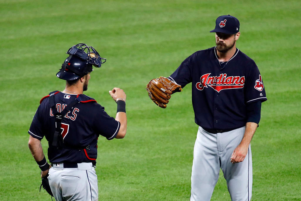 . Cleveland Indians catcher Yan Gomes, left, and relief pitcher Andrew Miller celebrate the team\'s baseball game against the Baltimore Orioles in Baltimore, Thursday, June 22, 2017. Cleveland won 6-3. (AP Photo/Patrick Semansky)