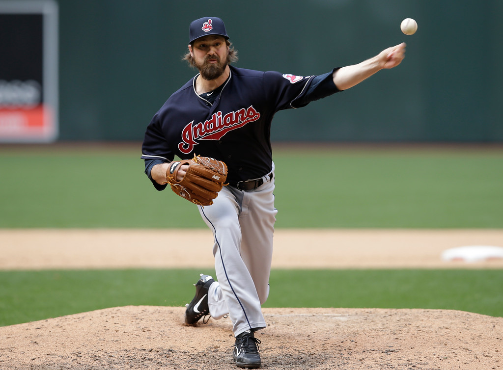 . Cleveland Indians relief pitcher Andrew Miller (24) in the first inning during a baseball game against the Arizona Diamondbacks, Sunday, April 9, 2017, in Phoenix. (AP Photo/Rick Scuteri)