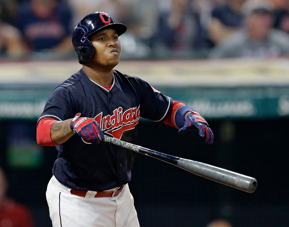 . Cleveland Indians\' Jose Ramirez watches his solo home run off Los Angeles Dodgers relief pitcher Josh Fields during the seventh inning of a baseball game, Wednesday, June 14, 2017, in Cleveland. (AP Photo/Tony Dejak)