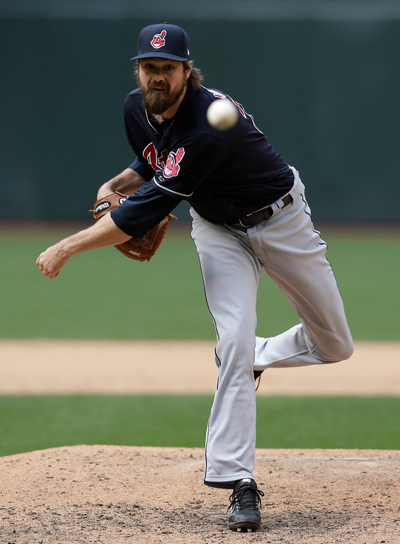 . Cleveland Indians relief pitcher Andrew Miller (24) in the eighth inning during a baseball game against the Arizona Diamondbacks, Sunday, April 9, 2017, in Phoenix. (AP Photo/Rick Scuteri)