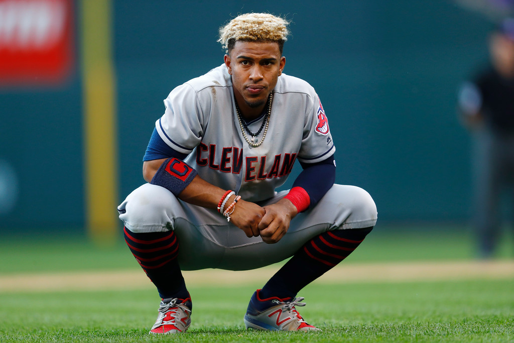 . Cleveland Indians shortstop Francisco Lindor reacts after stranded on second base as Michael Brantley struck out to Colorado Rockies starting pitcher Kyle Freeland to end the top of the sixth inning of a baseball game Wednesday, June 7, 2017, in Denver. Colorado won 8-1. (AP Photo/David Zalubowski)
