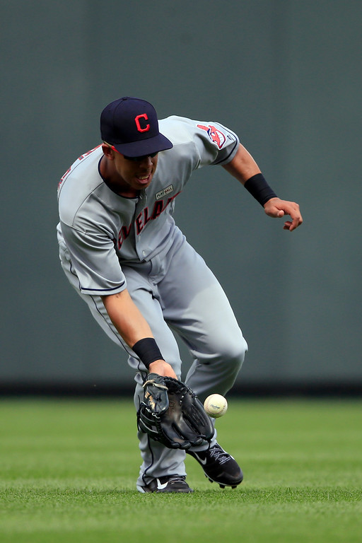. Cleveland Indians left fielder Michael Brantley during a baseball game at Kauffman Stadium in Kansas City, Mo., Saturday, June 3, 2017. (AP Photo/Orlin Wagner)