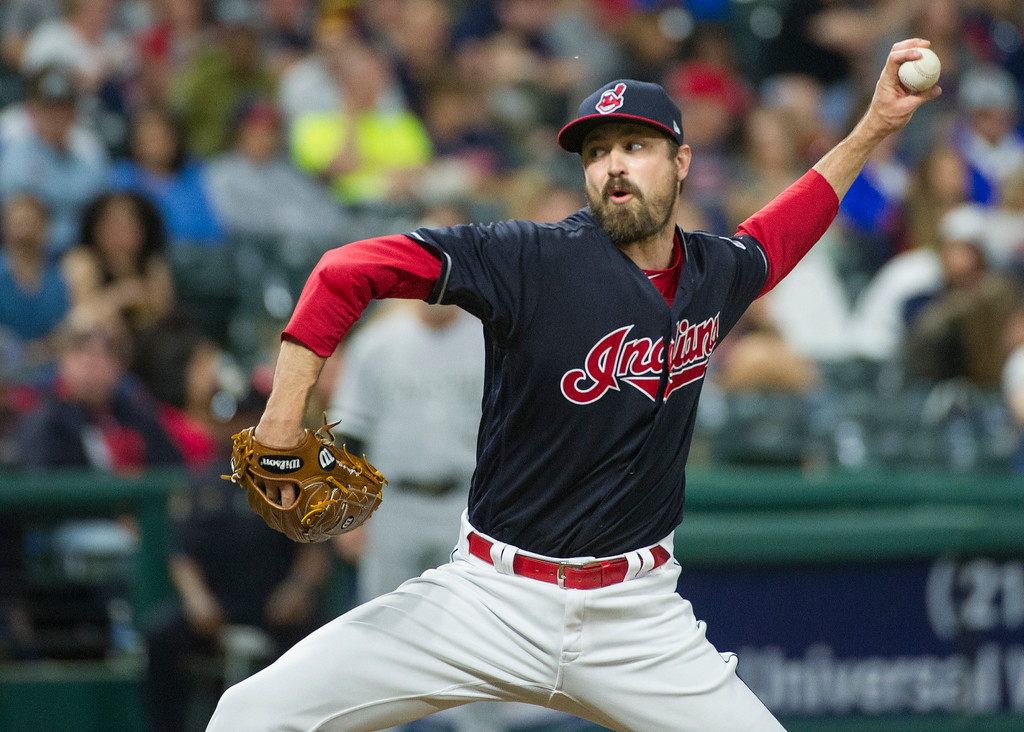 . Cleveland Indians relief pitcher Andrew Miller delivers against the Chicago White Sox during a baseball game in Cleveland, Friday, June 9, 2017. (AP Photo/Phil Long)