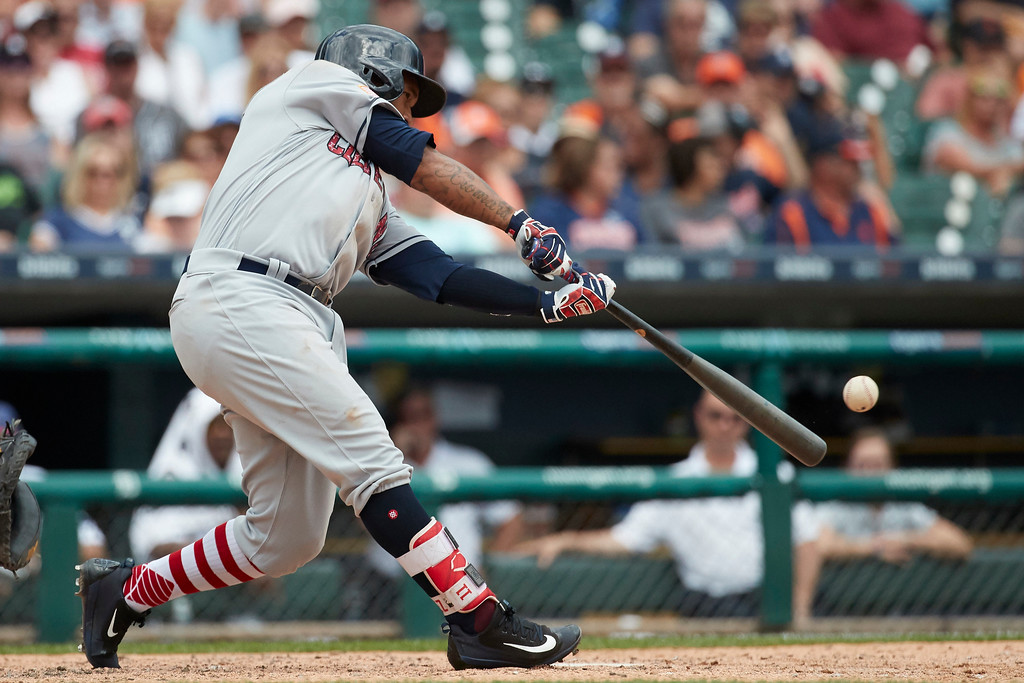 . Cleveland Indians Jose Ramirez hits a double against the Detroit Tigers during the seventh inning in the first baseball game of a doubleheader in Detroit, Saturday, July 1, 2017. (AP Photo/Rick Osentoski)