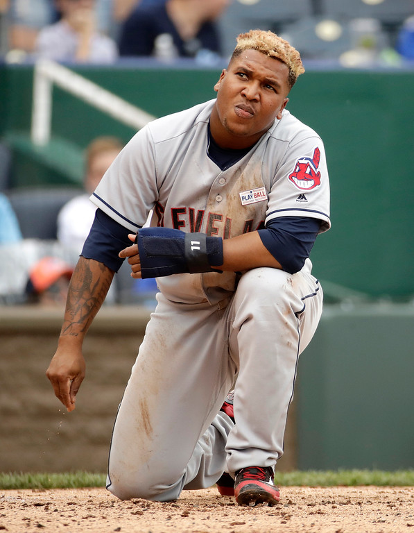 . Cleveland Indians\' Jose Ramirez reacts after being tagged out at home as he tried to score on a double by Austin Jackson during the fourth inning of a baseball game against the Kansas City Royals, Sunday, June 4, 2017, in Kansas City, Mo. (AP Photo/Charlie Riedel)