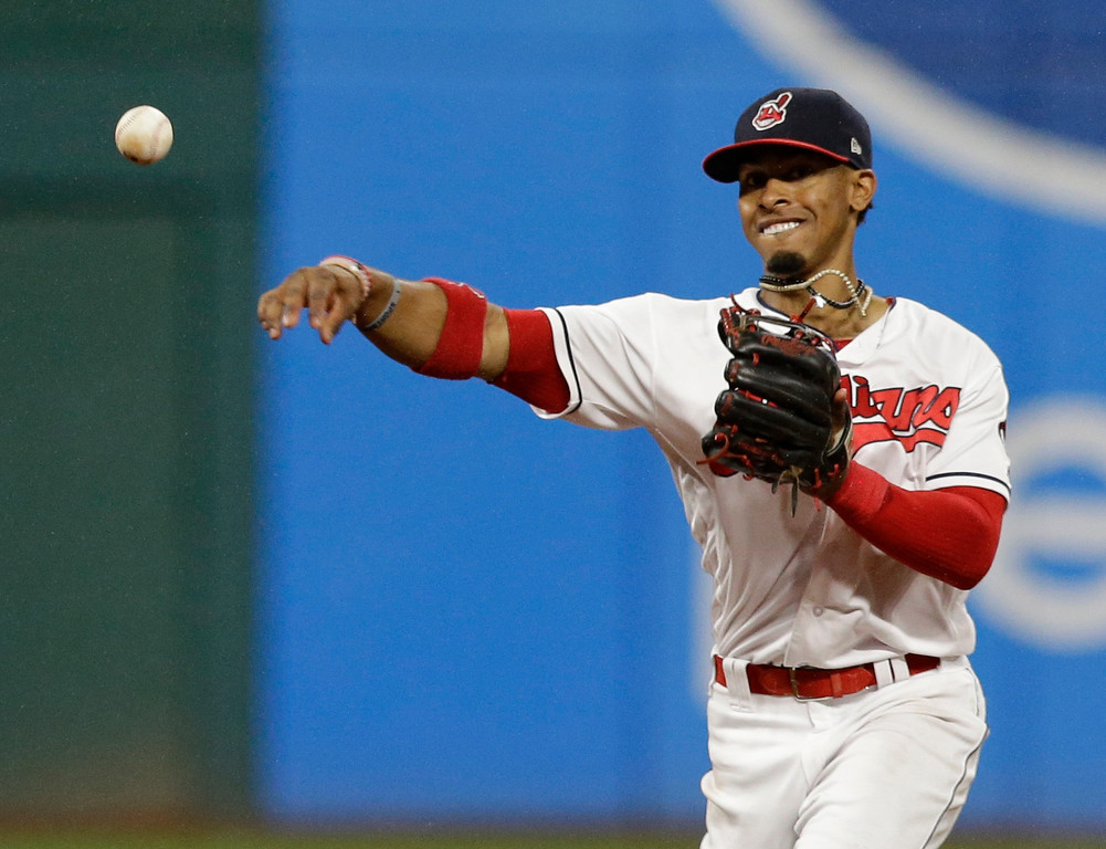 . Cleveland Indians\' Francisco Lindor throws out Minnesota Twins\' Eddie Rosario at first base in the ninth inning of a baseball game, Friday, June 23, 2017, in Cleveland. (AP Photo/Tony Dejak)