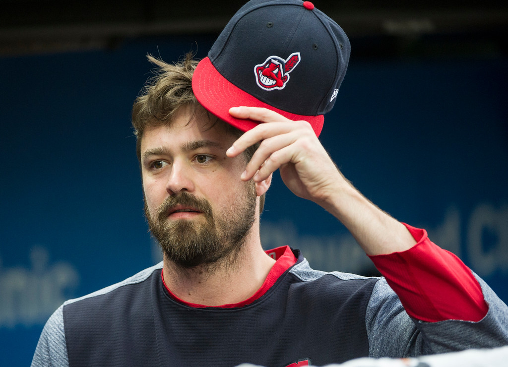 . Cleveland Indians relief pitcher Andrew Miller is shown before a baseball game against the Chicago White Sox in Cleveland, Friday, June 9, 2017. (AP Photo/Phil Long)