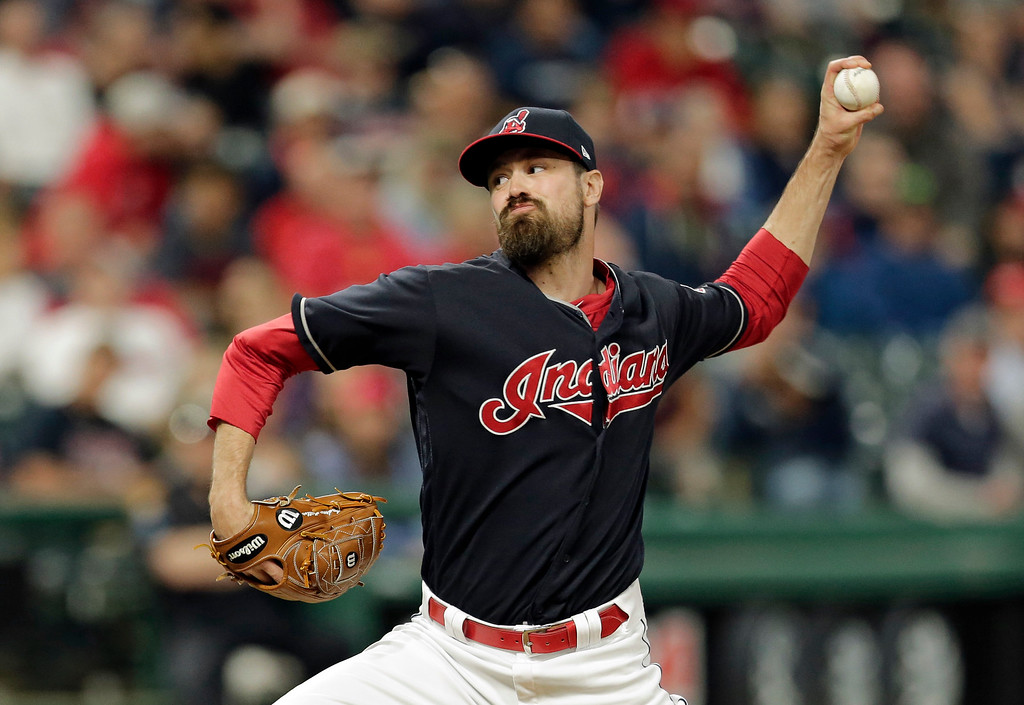 . Cleveland Indians relief pitcher Andrew Miller delivers in the ninth inning of a baseball game against the Houston Astros, Tuesday, April 25, 2017, in Cleveland. (AP Photo/Tony Dejak)