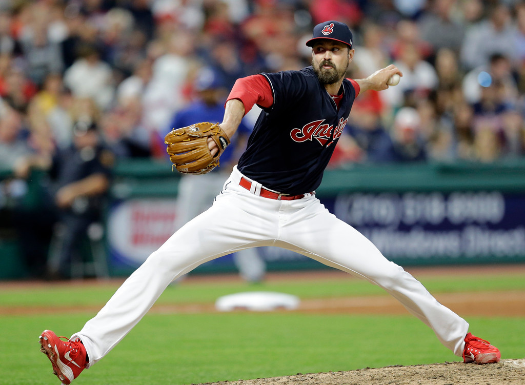 . Cleveland Indians relief pitcher Andrew Miller pitches against the Texas Rangers in a baseball game, Tuesday, June 27, 2017, in Cleveland. (AP Photo/Tony Dejak)