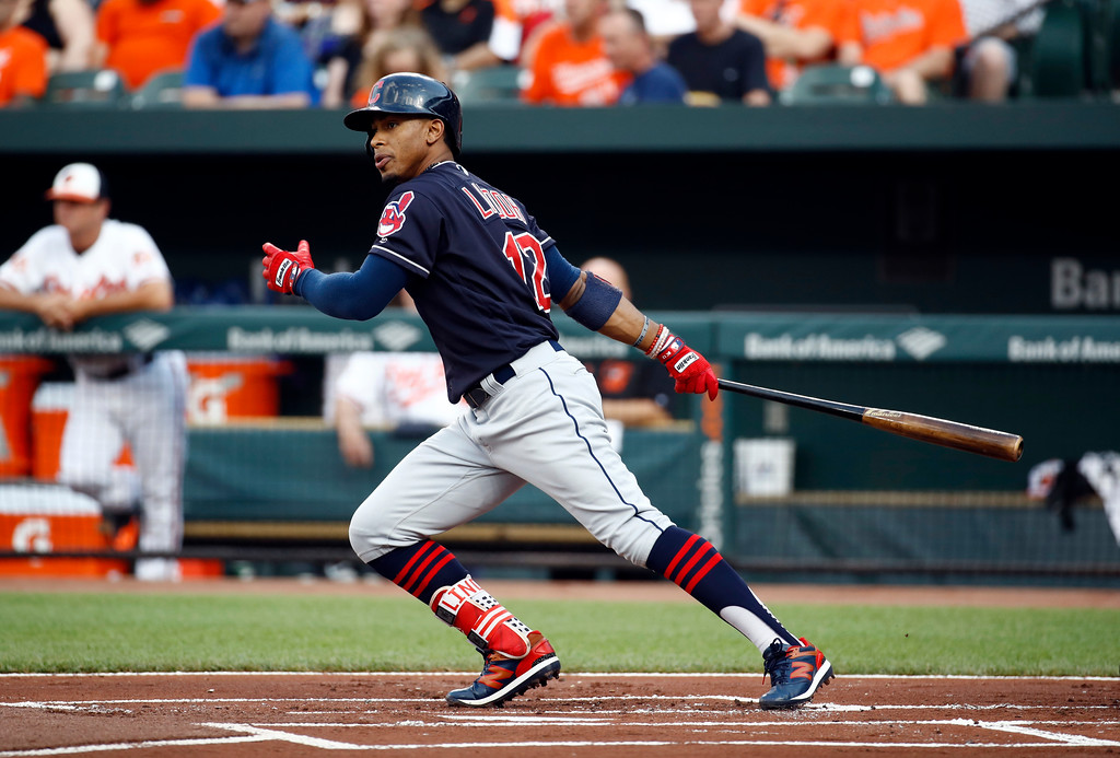 . Cleveland Indians\' Francisco Lindor swings during an at-bat in a baseball game against the Baltimore Orioles in Baltimore, Tuesday, June 20, 2017. (AP Photo/Patrick Semansky)