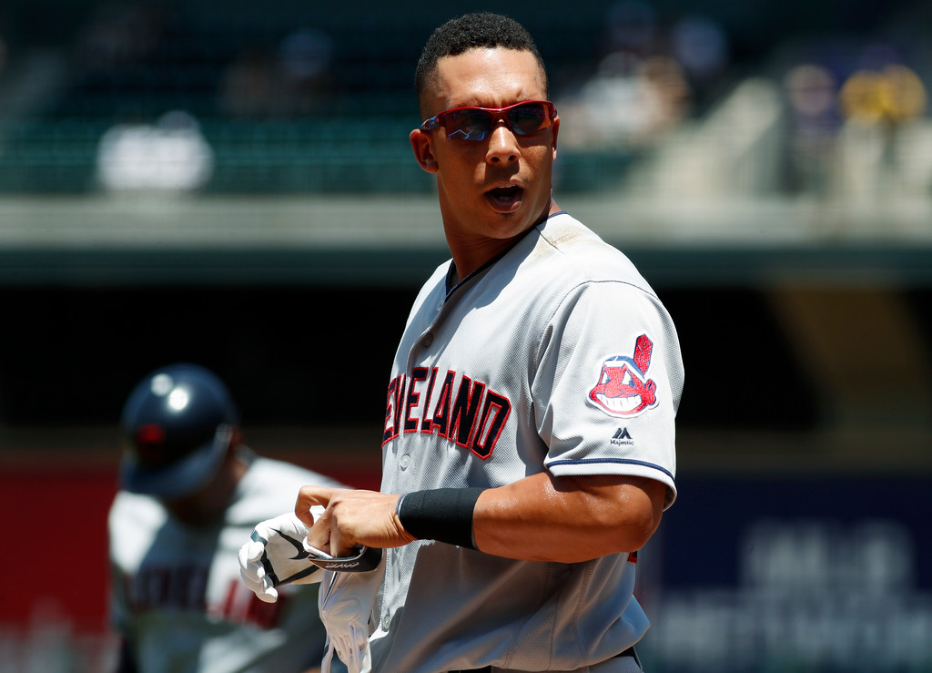 . Cleveland Indians\' Michael Brantley reacts after striking out against Colorado Rockies starting pitcher Kyle Freeland to end the top of the first inning of an interleague baseball game Wednesday, June 7, 2017, in Denver. (AP Photo/David Zalubowski)