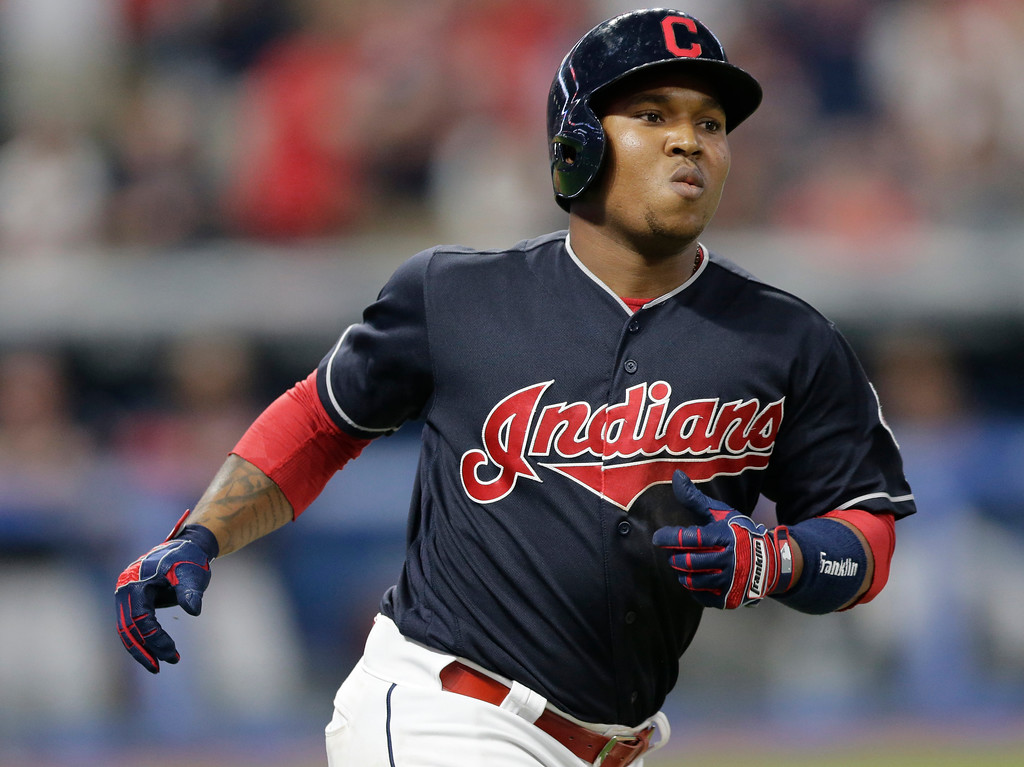 . Cleveland Indians\' Jose Ramirez runs the bases after hitting a solo home run off Los Angeles Dodgers relief pitcher Josh Fields in the seventh inning of a baseball game, Wednesday, June 14, 2017, in Cleveland. (AP Photo/Tony Dejak)