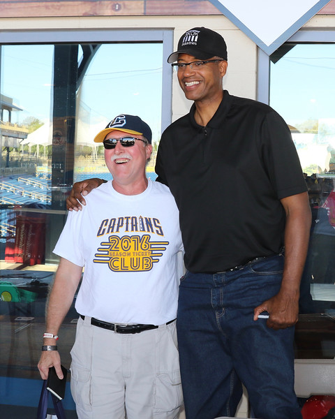 Tim Phillis - The News-Herald<br /> Brad Sellers with a fan on Aug. 6 at Classic Park.