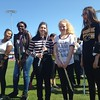 Members of LaMuth Middle School Band, five minutes to the National Anthem