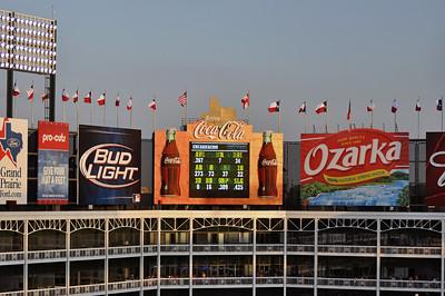 The sunset lighting on the scoreboard was nice.