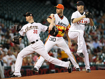 June 01, 2012; Houston, TX, USA; Multiple exposure photograph of Houston Astros starting pitcher J.A. Happ (30) taken April 20 and May 22 and June 1 at Minute Maid Park. Mandatory Credit: Troy Taormina-US PRESSWIRE
