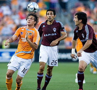 The defending MLS Champions Houston Dynamo defeated the Colorado Rapids 2-1 for their first victory of the season May 10, 2008 in Houston, Texas.