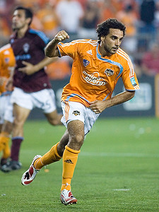 Dwayne de Rosario reacts after scoring a penalty kick goal to give the Houston Dynamo a 2-1 lead against the Colorado Rapids.  The defending MLS champions held on to defeat the Rapids 2-1 for their first victory of the season May 10, 2008 in Houston, Texas.