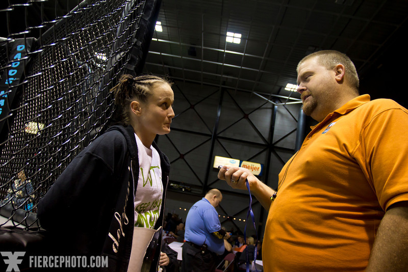 """Sheena Starr being interviewed by MLive after her huge win during KnowOut Promotions"""" New Revolutions at the Delta Plex arena."""