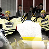 """Monarch High School Hockey Team's Dmitri Kyle (15) at left and Joey Buchan (17) celebrate a goal against  Dakota Ridge during their game at the Boulder Valley Ice rink in Superior on Monday January 23, 2012. For more photos and a recap of the game go to  <a href=""""http://www.bocopreps.com"""">http://www.bocopreps.com</a>. <br /> Photo by Paul Aiken"""