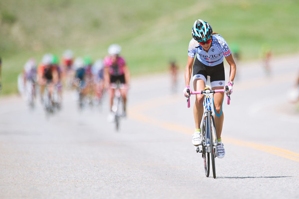S0521MORGUL2.jpg S0521MORGUL2<br /> <br /> Catherine Johnson leads the pack during the uphill sprint to win the Womens P12 race of the Superior Morgul Bizmark in Superior Colorado on Sunday afternoon, May 20th, 2012.<br /> <br /> Photo by: Jonathan Castner