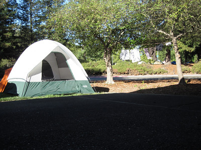 Our fabulous road-side campsite. See the laundry line? I love my husband. That laundry line is pure GENIUS I tell ya.